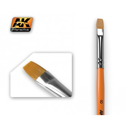 AK608 Flat Brush 8 Synthetic