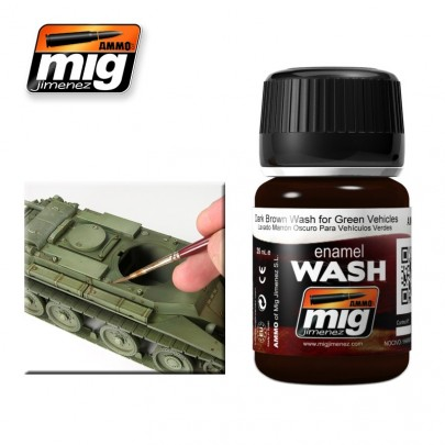 A.MIG-1005 DARK BROWN WASH FOR GREEN VEHICLES